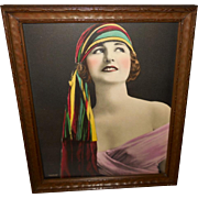 Wolf Advertising Art Deco Style Lady in Colorful Head Scarf
