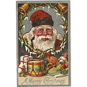 Embossed 1910 Christmas Postcard with Santa and Gifts