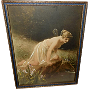 Hand Colored Vintage Print of Psyche in Blue and Gold Frame