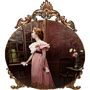 Ornate Ullman Print on Glass of Lady with Letter