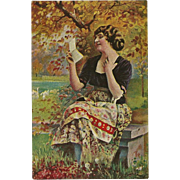 Vintage German Postcard of Lady Reading Love Letter