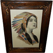 Hand Tinted Schlesinger Print of Native American Indian Maiden Early 1900s - Ornate Frame