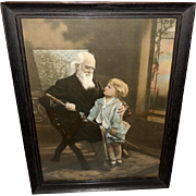 Lovely Tinted Photo Print of Grandfather with Sword