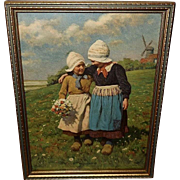 Karl Feiertag Vintage Print of Little Sister - Two Dutch Girls - Red Tag Sale Item