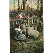 Raphael Tuck Photochrome Postcard of Two Girls with Sheep