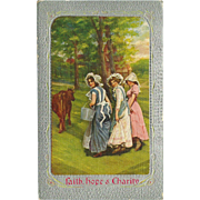Vintage Postcard of Three Women - Faith, Hope & Charity