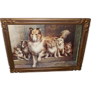 Edmund Osthaus Vintage Print of Friendly Scots - Dog and Puppies