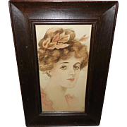 Folk Art Watercolor of Gibson Style Girl in Wide Wood Frame