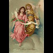 German Embossed Christmas Postcard of Two Angels