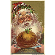 Julius Bien Embossed Christmas Postcard of Santa with Gift of Food