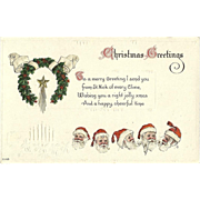 Embossed Christmas Postcard with Five Santa Claus Headds