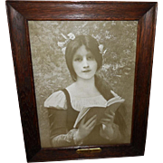 Jules Joseph Lefebvre Vintage Print of Young Reader with Brass Plaque
