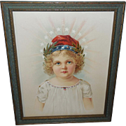 Chromolithograph of Patriotic Little Miss Liberty - Two Tone Frame