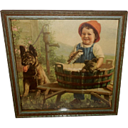 Alfred Guillon Vintage Print of Young Boy with German Shepherd Dogs