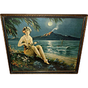 The Fairest Flower Hawaiian Lady Vintage Print by Cliff Reeder