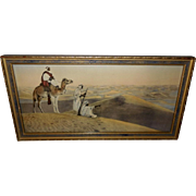 Vintage Arabian Desert Scene with Men and Camel