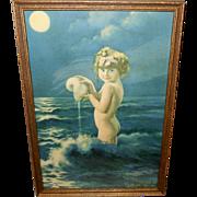Bertram Basabe Vintage Print of Young Girl in Water