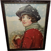 Frank Desch Vintage Print of Pauline - Lady in Snow