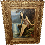 R. Atkinson Fox Pseudonym Dupre Vintage Print of Native American Indian Maiden - Ornate Frame