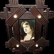 Folk Art Wood Frame with Porcelain Buttons - Red Tag Sale Item