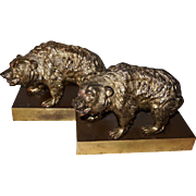 Ronson Metal Grizzly Bear Bookends Early 1900's