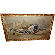 Artist Signed 1919 Pansy Painting in Gold Wood Frame