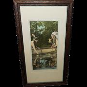Native Amerian Indian Couple Calendar Aquatint Print - A Forest Romance