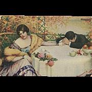 Artist Signed Vintage Postcard of Sad Couple