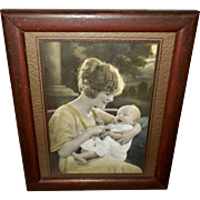 Tinted Photo Print of Mother with her Baby