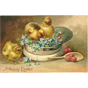 Vintage Easter Postcard with Three Chicks in Hat