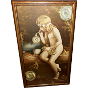Vintage Print of Innocence - Young Child with Bubbles