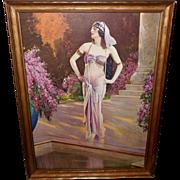 L. Goddard Calendar Print of An Egyptian Princess in Wood Frame