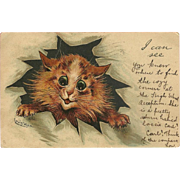 Louis Wain 1905 Raphael Tuck Postcard of Large Eyed Cat