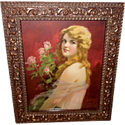 Hy Hintermeister Vintage Calendar Print of Beautiful Blonde with Roses