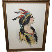 Hand Colored Native American Indian Maiden