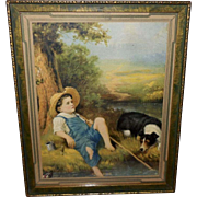 Calendar Print of Boyhood Dreams - Young Boy Fishing with His Dog