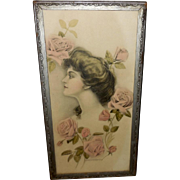 Keystone Art Company Vintage Print of Lovely Lady with Pink Roses