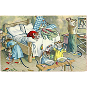 Max Kunzli Dressed Mice Postcard - Bedlam in the Bedroom