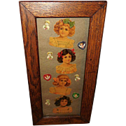 Embossed Die Cut of Girls and Cherubs in Oak Frame