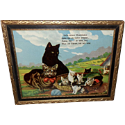 Glossy Chromolithograph of Cats and Basket of Kittens