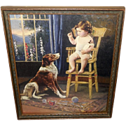 Vintage Calendar Print of Baby in High Chair with Collie Dog
