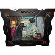 Lovely Lady with Baby in Decorative Wood Frame with Embellishments