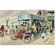 Vintage Fantasy Postcard of Babies in Car on Beach