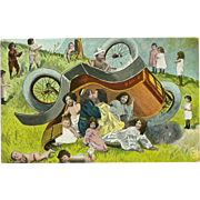 Fantasy Babies 1905 Postcard - Overturned Car