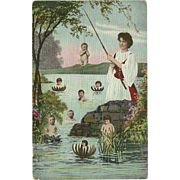 Vintage Fantasy Babies Postcard - Woman Fishing for Children