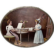 Large Flue Cover of Woman and Girl in Music Parlor