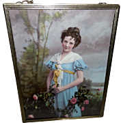 Ullman Flue Cover Style Photo Print of Lady in Blue with Roses