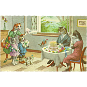 Mainzer Dressed Cats Postcard - Birthday Party