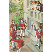 Mainzer Dressed Cats Postcard - Bridal Serenade