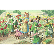 Mainzer Dressed Cats Postcard - Gardening